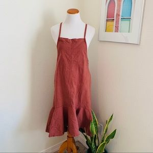 Brown Apron Jumper Dress - Chic and Simple